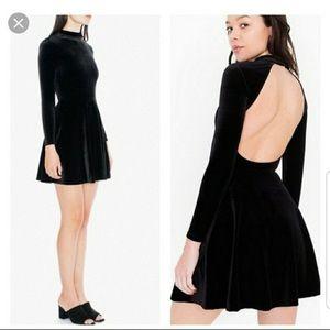 New Black American Apparel Velvet Skater Dress